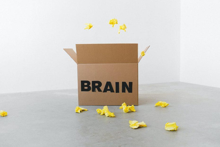 brain inscription on cardboard box under flying paper pieces